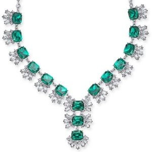 Green & Crystal Y-Necklace Dangle Statement NEW